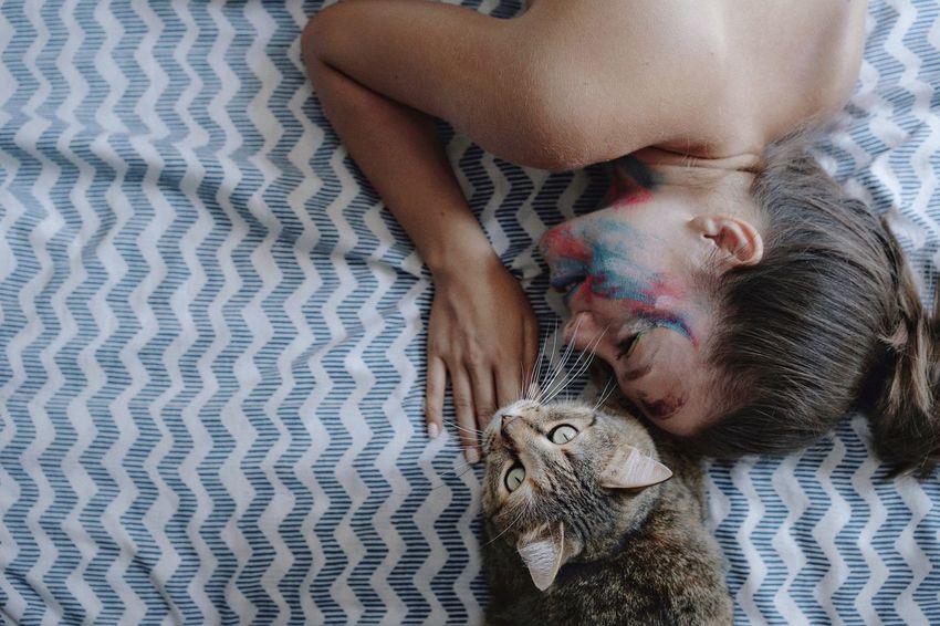 Cat Women Friendship Bonding High Angle View Portrait Close-up Domestic Cat Feline