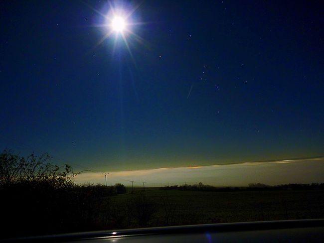 Sangerhausen Foggy Night Fogg Scream Moon Moonlight Stars Over The Clouds