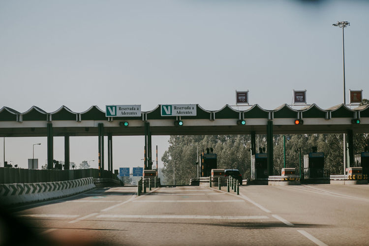 Direction Sign Street Light Transportation Day Portugal Toll Tollway Highway Freeway