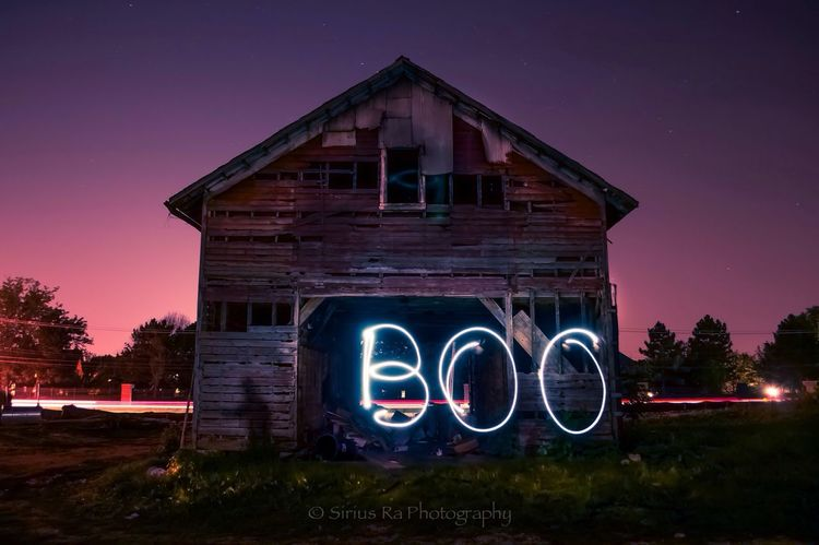 A ghostly shadow. NightSnaps Night Lights Long Exposure Light Painting I took some night shots of this barn literally the night before it was torn down. No editorial additives were put in this photo.