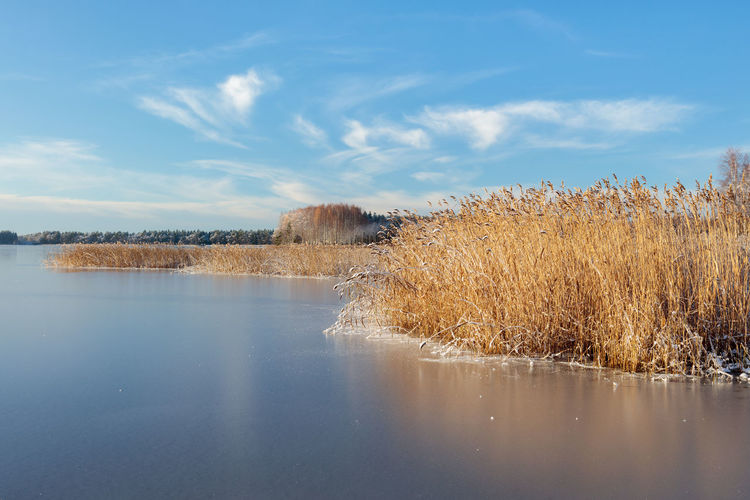 Frozen lake on