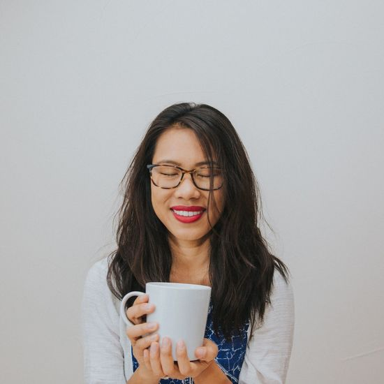 EyeEm Selects Eyeglasses  Leisure Activity Smiling White Background Lifestyles Young Adult Happiness Tea Coffee Coffee Break Relaxing Relaxing Moments Zen Peace And Quiet Peaceful Place Serene Happy Morning Morning Rituals Morning Coffee Sunday Morning