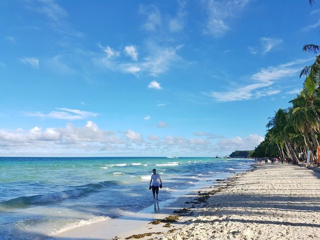 A walk with nature. Beach Sea Sky Sand Vacations Blue Summer Travel Destinations Beauty In Nature Island Skies And Clouds Boracay Philippines Travel Photography Beachphotography Vacations Wandering Beauty In Nature Naturelovers Wanderlust Seascape Sunrise Tranquility Beach Life Traveller