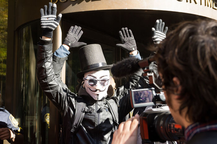 "Photos from the annual anti-establishment Million Mask March, held by members of ""Anonymous"" in Washington, D.C. every year on Nov. 5. Activism Anonymous Demonstration Million Mask March Photojournalism Police Protest Rally Washington, D. C."