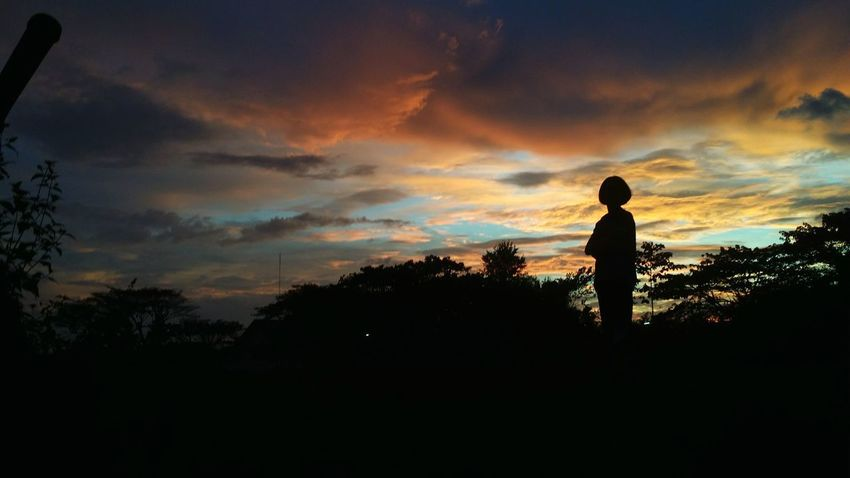 AI Now! Silhouette Sunset One Person Cloud - Sky Children Only People Dramatic Sky