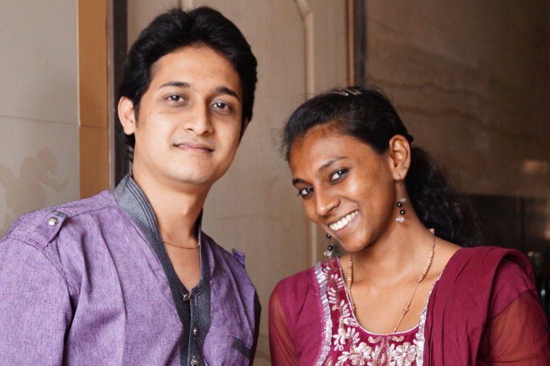 Indian couple smiling together