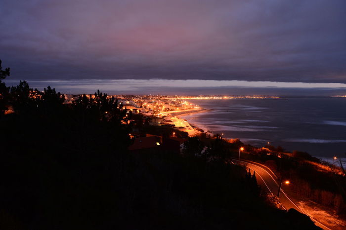 Sea Beach Sunset Vacations Water Outdoors Sky Nature Horizon Over Water No People Night Landscape Scenics Beauty In Nature Lava City Cityscape City Lights Cities At Night City And Sea Oceano Mar Céu Céus E Nuvens