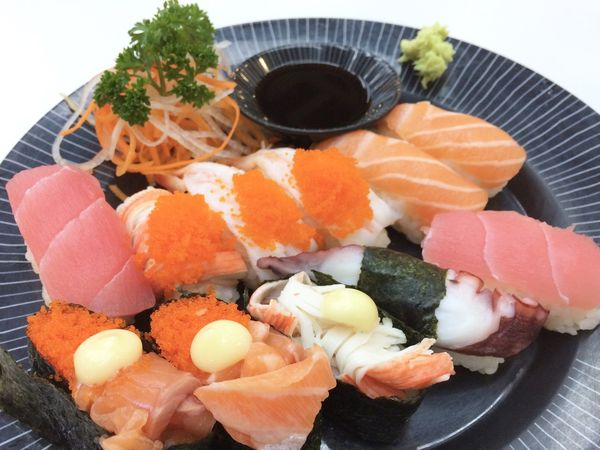 Food Food And Drink Seafood Healthy Eating Freshness Wellbeing Japanese Food Sushi Asian Food Fish Salmon - Seafood Plate Indoors  Still Life Ready-to-eat Rice No People Serving Size High Angle View