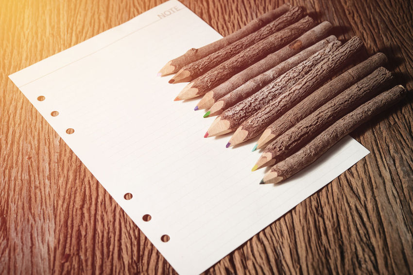 Brown Close-up Indoors  No People Pencil Pencil Shavings Table Wood - Material