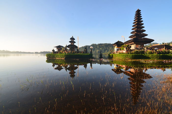 Pura Ulun Danu Beratan, Bali, Indonesia Agushariantophotography Architecture Arrival Built Structure City Day Lake Landscape Nature No People Outdoors Reflection Reflection Lake Sky Sunset Tourism Tradition Tranquility Travel Travel Destinations Tree Water