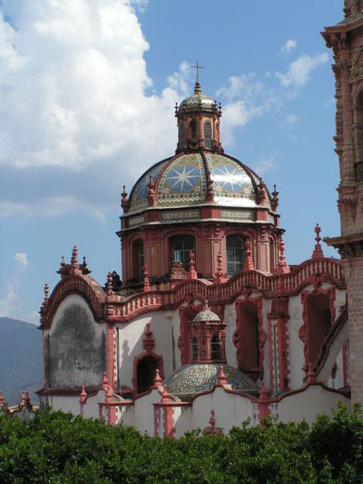 Santa Prisca Cathedral, Taxco, Mexico Cathedral Mexico Architecture Barroque Building Exterior Built Structure Catholic Church Cloud - Sky Clouds And Sky Color Tiles Day Dome History No People Outdoors Religion Sky Spirituality Travel Destinations