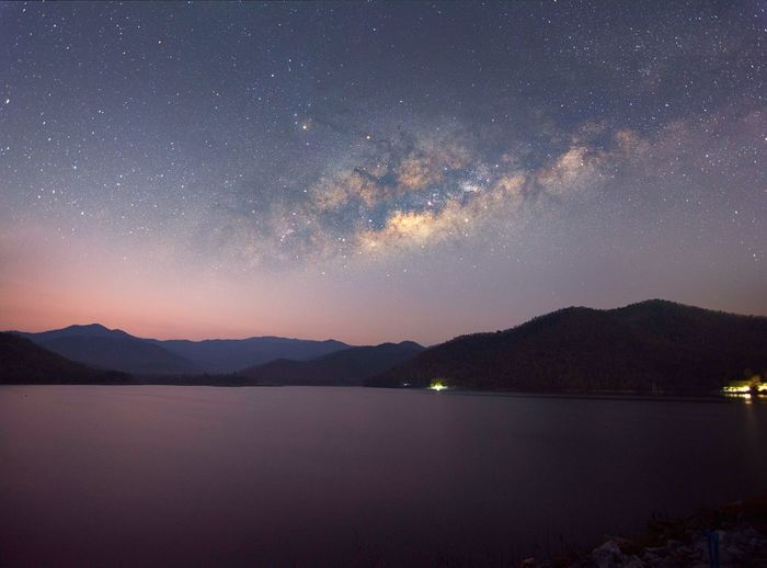 Before sunrise Star - Space Night Astronomy Galaxy Milky Way Mountain Space Constellation Nature Sky Tranquility Mountain Range Science Lake No People Outdoors Arts Culture And Entertainment Scenics Beauty In Nature Landscape