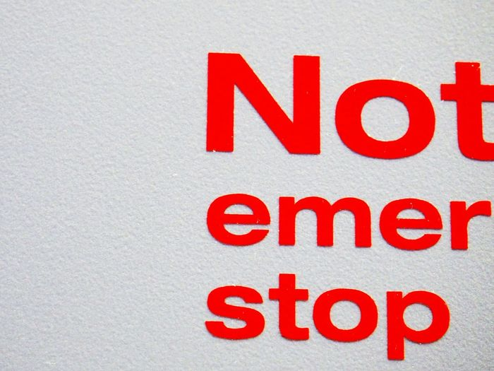 ...trying To Take This Picture Sign Notice Emergency Stop Red White Careful Awareness Edited By Me