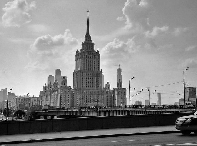 Blackandwhite Cloudy Moscow City Urban Skyline Cityscape Skyscraper Sky Architecture Building Exterior Tower