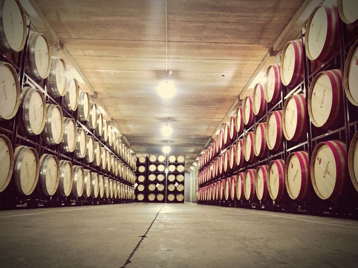 Wine Moments Indoors  In A Row Architecture Illuminated No People The Way Forward Built Structure Day Bodegasyllera Yllera Cigales