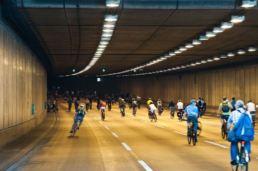 Sternfahrt 2015 in Berlin entering the Tunnel