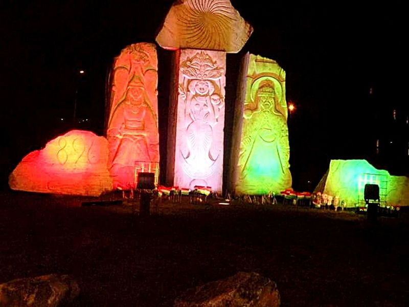 Statue Illuminated Sky Outdoors No People Night Carved Carved Stones Park Grass Nature Day Hungary🇭🇺 Event Color Light Ligting Design Night Park