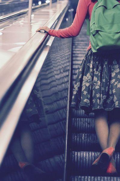 Subway People Subway Spb Saint Petersburg Saint-Petersburg Stair Newoneyeem EyeEm Best Shots - People + Portrait Girl Backpack Green Color Reflection Everyday Routine Road To Work