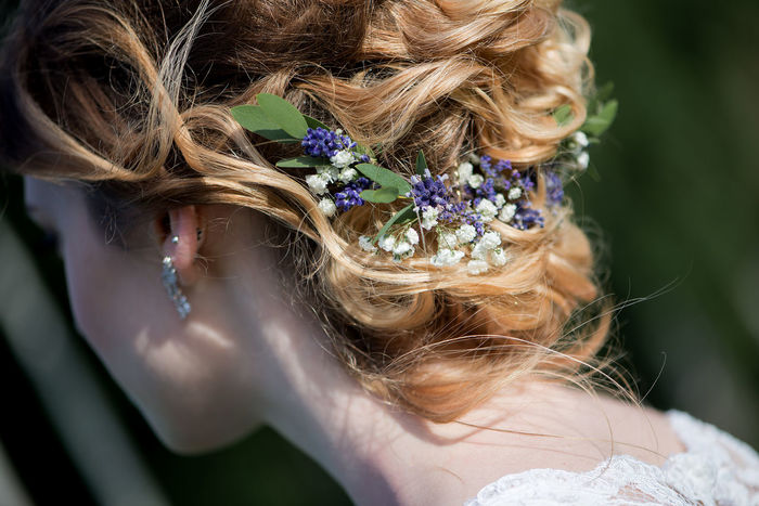 Earrings Hairstyles Blond Hair Braided Close-up Day Flower Focus On Foreground Girls Hairstyle Headband Headshot Human Hair Lifestyles Long Hair One Person Outdoors People Real People Rear View Tiara Wearing Wearing Flowers Wedding Hair Wedding Hairstyles