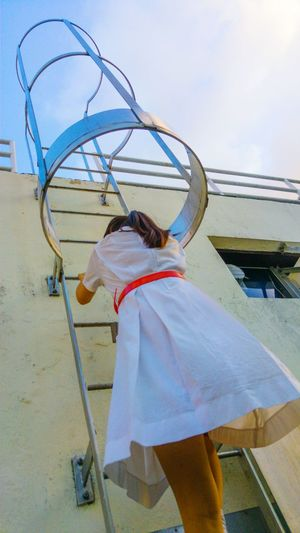 Climbing up. One Person Rear View People Sky What Who Where Student Life HongKong School Secondary School Life Students Secondaryschool Hong Kong Girls Architecture Stairs Stair Student Uniform