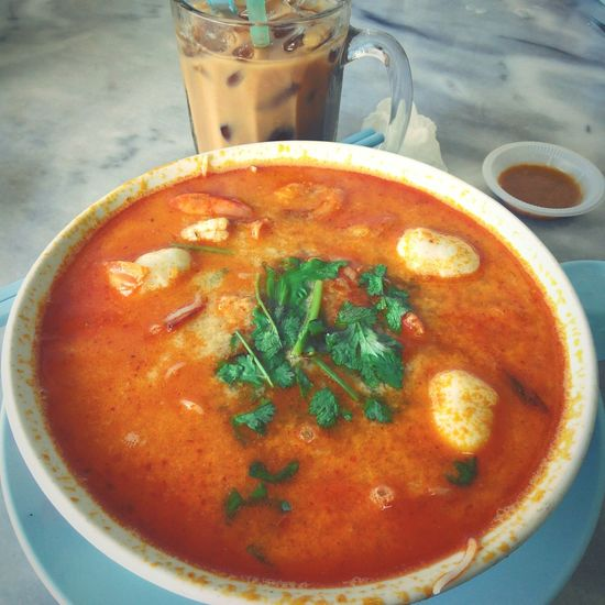 Nothing like a steaming bowl of delicious Tom Yam Noodles for lunch, with a glass of iced coffee to boot. 😊😁😂 Food Photos Me Twominutehipster Kk City This Is My Life My Point Of View Home Food Porn Yummy!