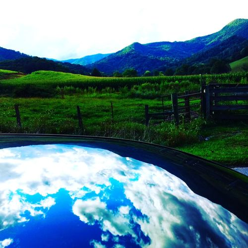 Cloud - Sky Reflection No People Outdoors Mountain Sky Landscape Beauty In Nature Blue Nature Tree Scenics Day Freshness Clear Sky Tree Nature Daytime Green Color EyeEmNewHere Mountain Range Beauty In Nature Plant