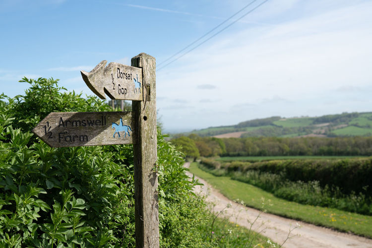 A wooden British countryside road sign in the heart of the English countryside. Communication Sign Text Information Guidance Western Script Sky Information Sign Plant No People Nature Road Day Tree Symbol Landscape Land Field Direction Script Outdoors Signpost British Countryside Country Road