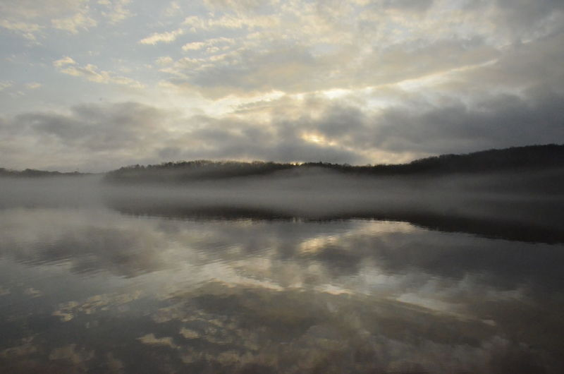 Water Cloud - Sky Sky Tranquility Beauty In Nature Reflection Scenics - Nature Tranquil Scene Waterfront No People Nature Lake Idyllic Non-urban Scene Day Outdoors Fog Hazy  New Years Day 2019