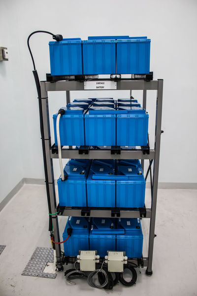 Battery Room for Backup Power for Essential Load Backup Emergency Industrial Power Plant Room Absence Architecture Battery Blue Cable Checker Plate Container Control Electricity  Empty Energy Factory Flooring Fuse Box Indoors  No People Rack Still Life Storage Technology