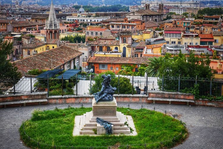 Pincio Architecture Building Exterior Built Structure High Angle View Statue Cultures History Roof Sculpture Ltaly Roma