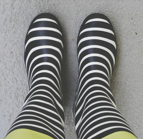 Galoshes Striped Boots Rainy Days Rain Boots Black And White Boots