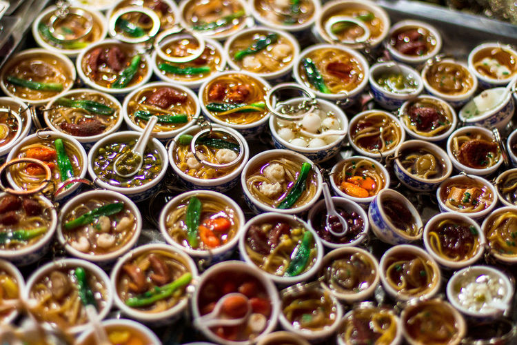 So many yummy food choices.. but too bad they are actually keychains - hoi an, vietnam