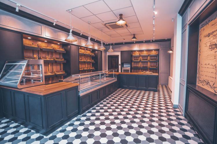 Interior of illuminated restaurant
