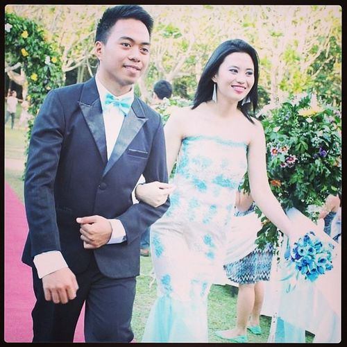 @ My Sister's Wedding Bluroze Wedding Me Joven ate zoey smiling excited wedding dress retrica brother sister 7years patience LOL ate eg kuya adonis