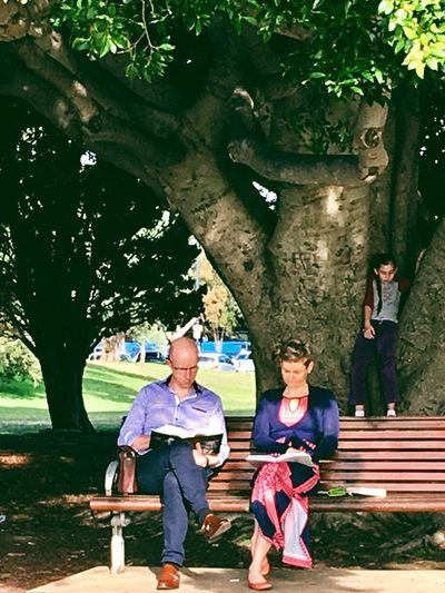 Family shot- real life candid shot of a family in the park on the weekend, mum and Dadda sitting under a big old tree reading, while their son is climbing the tree behind them. Nature Mother Family Life Sitting In The Park Funny Pics Funny Moments Reading A Book Boy Climbing Trees Relaxing Family Time Family With One Child Weekend Family Tree Park Park Bench Reading Women Family Leisure Activity Adult Males  Child This Is Family Childhood Real People Lifestyles Togetherness Sitting This Is Family