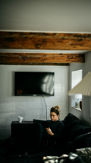Mornings in the farm house Business Day Home Interior Indoors  Lifestyles One Person People Real People Sitting Technology Working Young Adult Young Women