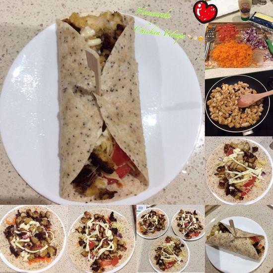 Homemade chicken wraps 🌯👌🏻🌯 Chicken Wraps Cooking Food #yummy Homecooking Delish Easydinner Hungry