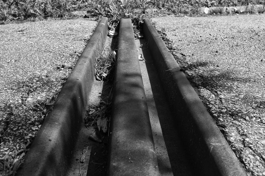 Asphalt Drainage Channel Field Grass Grassy Ground Nature Rural Scene Street Transverse Channel Black & White Blackandwhite Monochrome Filter Filtered Image Monochrome Photography
