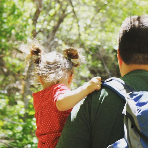 Rear View Of Man Carrying Daughter Against Tree
