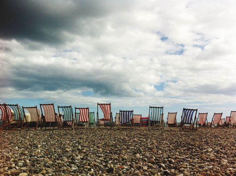 Deckchairs Horizon Pebble Beach Relaxing Devon Symmetrical Moody Sky British Summertime Rain Stops Play Typical British Seaside