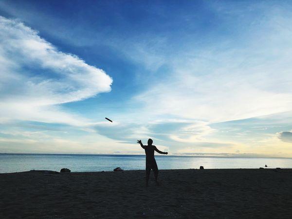 Frisbee Beach Sky Water Sea Cloud Real People Land Flying