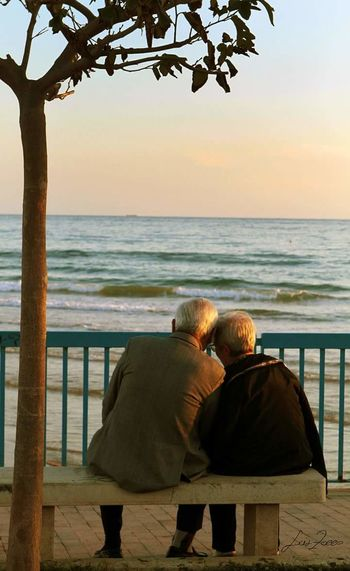 Sea Rear View Senior Adult Two People Nature Day Sky Love Colours Autumn Photography Autumn Leaves Sicilia Purelove Reallove Loveforever Forevertogether