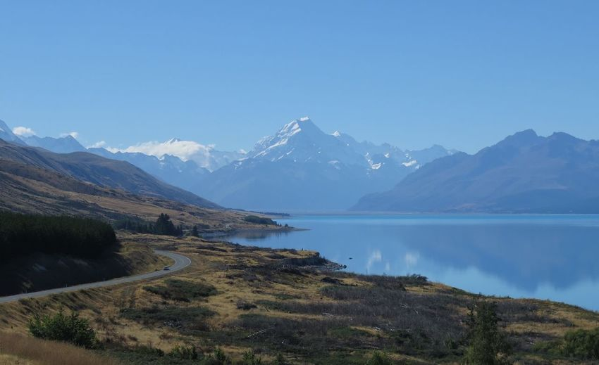 Blue Jewels Of Sky Mountains Lake I Love New Zealand Lost In The Landscape New Zealand Beauty Road Trip To Mount Cook Lake Pukaki Mountain Reflections Shimmering Blue Jewels