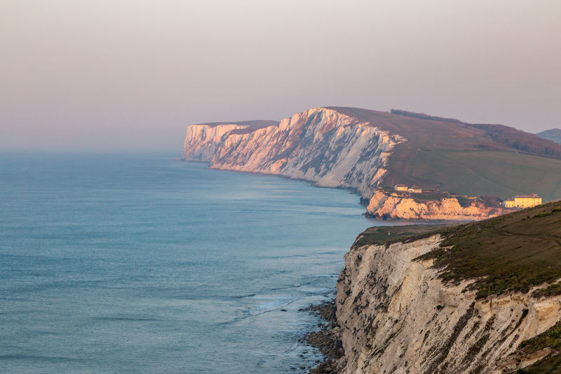 Looking along the isle of wight coastline towards freshwater bay and tennyson down