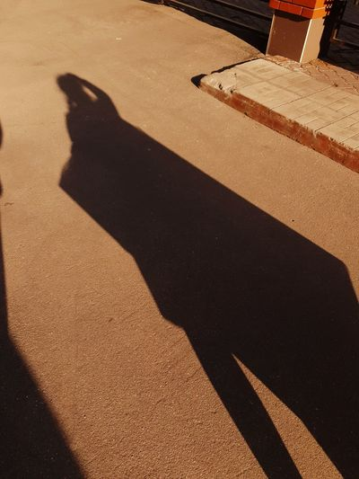 Shadow of people on street during sunny day