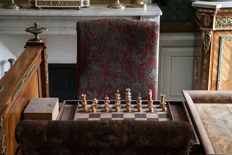 View of chess pieces