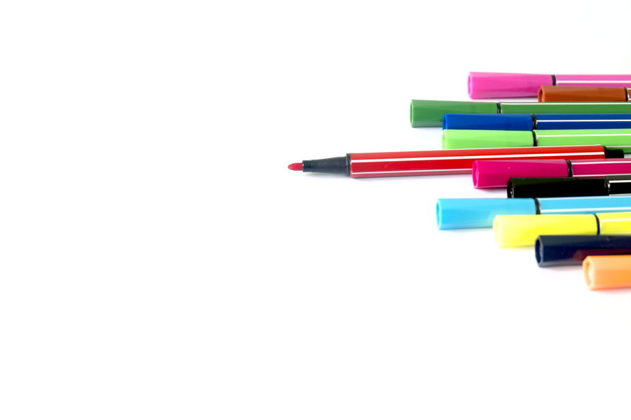 Colorful pen on white background Close-up Colorful Colorful Pen Copy Space Day Indoors  Multi Colored No People Studio Shot Variation White Background