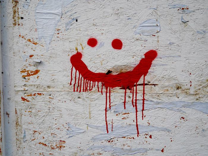 Close-up Day Graffiti Red Red Smiley White Color