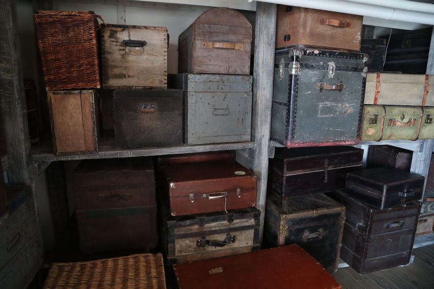 Arrangement Baggage Baggage Claim Baggage Room Box - Container Cabinet Close-up Day Historical Indoors  Large Group Of Objects Luggage, Travel  Luggages No People Stack
