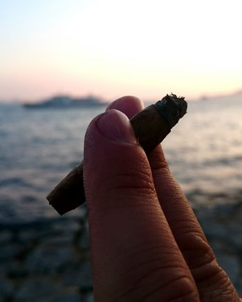 Smoking Beautiful Sunset Enjoying Life Cigars Hanging Out Ferry Boat Seaside By The Sea City View  Istanbullovers Saturday Afternoon Saturday Evening